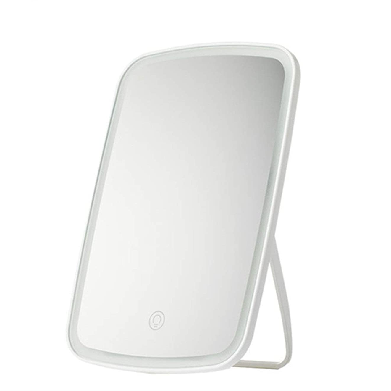 含意スナック変わる化粧鏡 自立ドレッシングテーブルミラー、完璧なメイクアップまたはシェービングのために角度が調節可能 - 大きな長方形の反射領域 - ホワイト (色 : 白, サイズ : 16.8x2.5x27cm)