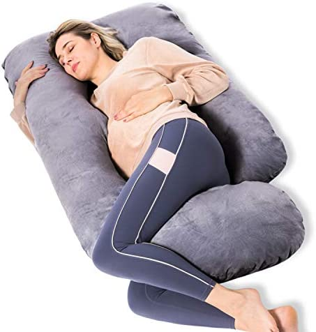 Momcozy Pregnancy Pillows U Shaped Full Body Maternity Pillow with Removable Cover Grey Pregnant product image