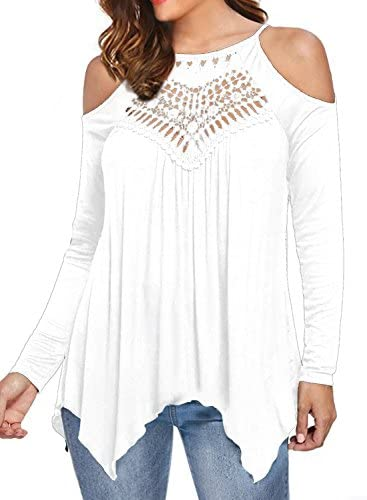 MIHOLL Women s Casual Tops Lace Off Shoulder Long Sleeve Loose Blouse Shirts Medium White product image