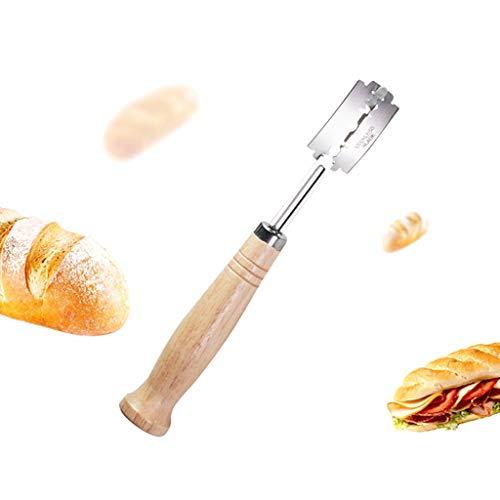 Lunji Lame Boulanger Poignée Bois Couteau a Pain pour Pain Baguette Pâte Bretzel (Brown)
