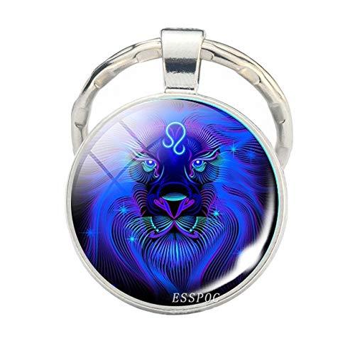 DSBN Sleutelhanger 12 sterrenbeelden schorpioen leeuw glas metaal sleutelhanger vrouwen mannen paar sleutelhanger autosleutel houder ringen mode Astrologie geschenken Leo
