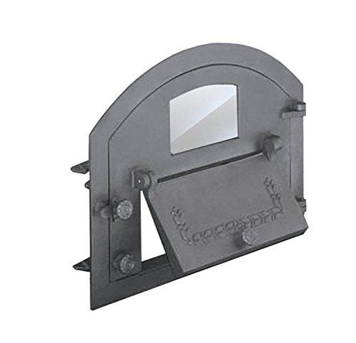 Backofentür Ofentür Pizzaofentür Holzbackofentür Steinbackofentür aus Gusseisen mit Ofenscheibe | Außenmaße: 610x480 mm | Öffnungsrichtung: rechts