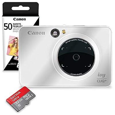 Canon Ivy CLIQ+ Instant Camera Printer (Pearl White) + 60 Sheets Photo Paper + 32GB SD Card (USA Warranty) from PS