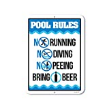 Honey Dew Gifts Funny Pool Sign, Pool Rules Bring Beer, 9 x 12 inch Pool Signs and Decor...