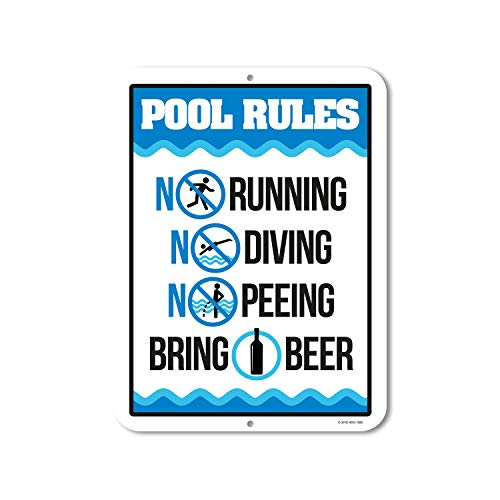 Honey Dew Gifts Funny Pool Sign, Pool Rules Bring Beer, 9 x 12 inch Pool Signs and Decor