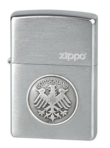 ZIPPO Benzin Feuerzeug chrom brushed Plakette Adler/Deutschland