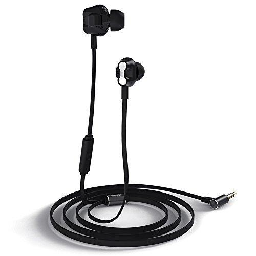 Auriculares con Cable - August EP520 – Auriculares In Ear con Micrófono y Control Remoto – Auriculares Dual Driver Sonido Estéreo Manos Libres para Control de Voz – Compatibilidad Universal