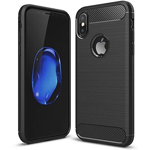 NALIA Design Case kompatibel mit Apple iPhone X/XS Hülle, Karbon Optik Stylische Handyhülle Stoßfeste Silikon Schutzhülle, Dünne Handy-Tasche Phone Cover Bumper Soft Skin Etui Kratzfest - Schwarz