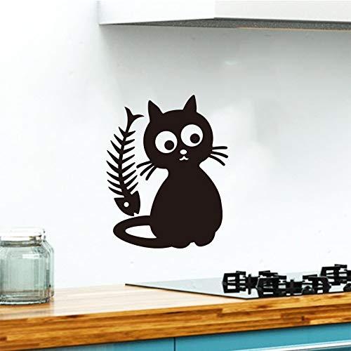 Schattige kattenvoer verwijderbare vinyl muursticker sticker keuken tegel koelkast behang kinderkamer huisdecoratie <> 42x54cm