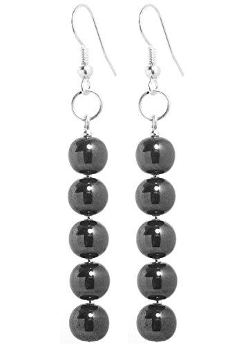2LIVEfor Handmade lange schwarze Ohrringe Kugeln Schwarz Silber Lang Hängend Hämatit Versilbert Ohrringe Perlen Schwarz Ohrhänger Perlen