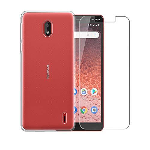 """PZEMIN Custodia per Nokia 1 Plus Cover Silicone Trasparente TPU Bumper Leggero Morbido Shell Case + Film di Vetro temperato per Nokia 1 Plus Pellicola Protettiva (5.45"""")"""