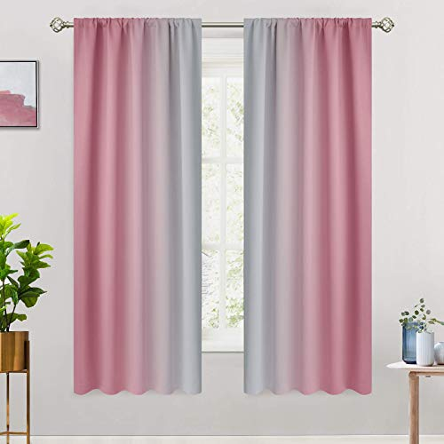 COSVIYA Rod Pocket Ombre Room Darkening Curtains 63 inch Length, Pink and Greyish White Gradient Drapes Light Blocking Insulated Thermal Window Curtains for Bedroom/Living Room,2 Panels,52x63 inches