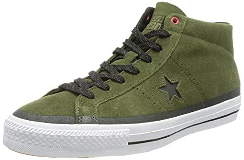 Converse One Star Pro Suede Mid 153474C, Verde (Herbal Black White), 35 EU