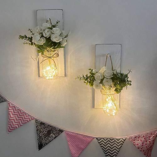 2m LED Lichterkette im Blumenglas Mason Jar Wandleuchten Set Stimmungslicht mit Timer. Kinderzimmer Hochzeit Beleuchtung Flur Holz Deko Wand Dekoration (3 meter, Lichterkette im Blumenglas)