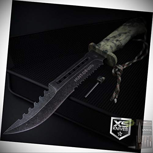 Stonewashed Combat Camo Survival Fixed Blade Hunting Stainless Steel Blade Knife 12' + Free eBook by Survival Steel