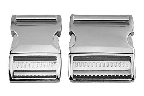 ALU MAX 1x Klickverschluss, Aluminium, verstellbar, Silber glänzend, Größe: 50 mm (2