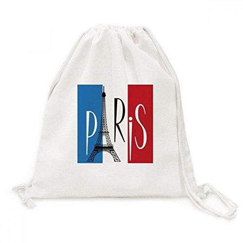 DIYthinker Nationale Vlag Frankrijk Eiffeltoren Parijs Canvas Trekkoord Rugzak Reizen Shopping Tassen