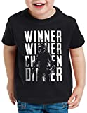 A.N.T. Winner Winner Chicken Dinner Camiseta para Niños T-Shirt PVP Multiplayer, Color:Negro, Talla:140