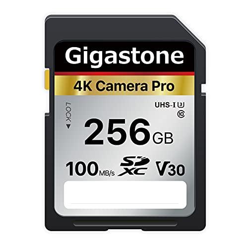 Gigastone 4K Telecamera Pro Scheda di Memoria SDXC da 256 GB, Velocità di trasferimento fino a 100MB/s. Compatibile con Canon Nikon Sony Camcorder, A1 V30 UHS-I Classe 10 per video 4K UHD