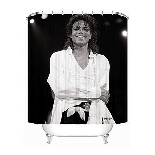 YUJEJ801 Michael Jackson Polyester Duschvorhang Anti Schimmel, Badewanne Vorhang 180x180 cm, Antibakteriell,Wasserdicht Umweltfre&lich Waschbar &mit 12 Ringe