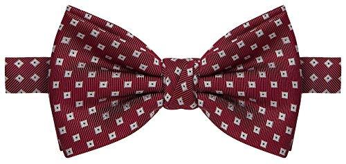 Gravata borboleta vermelha com quadrados brancos e pontos pretos