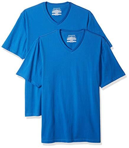 Amazon Essentials - Camiseta de manga corta de cuello de pico y corte holgado para hombre, paquete de 2 unidades, Azul (Imperial Blue Imp), US L (EU L)