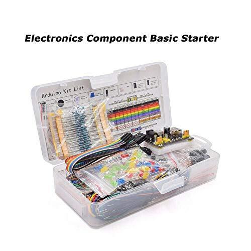 Silverdewi Kit Surtido de componentes electrónicos para Arduino Raspberry Pi STM32 con 830 Puntos de conexión Juego de Fuente de alimentación para Placa de Pruebas