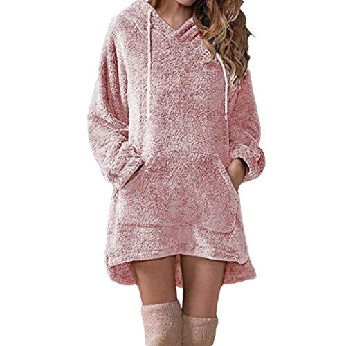 KPPONG Pullover Damen Teddy-Fleece Winter Langer Kapuzenpullover Groß Sweatshirt Hooded Warm Plüsch Pulli Pulloverkleid (Small, Rosa)