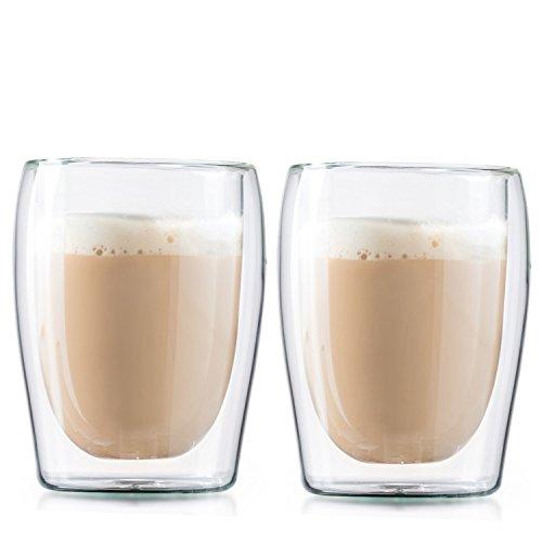 Boral Doppelwandige Cappuccinogläser / Kaffeegläser / Thermogläser, 2er...