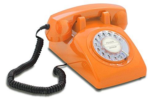 Opis 60s Cable mit klassischem Deutsche Post Pappeinleger: Retro Telefon im sechziger Jahre Vintage Design mit Wählscheibe und Metallklingel (orange)