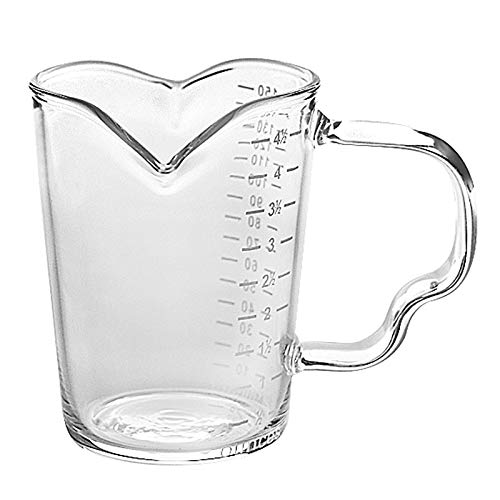 150ml Glass Measuring Cup Espresso Measure Glass Double Spouts Milk Cup 5oz Round Graduated Glass Mug Double Spouts Measuring Beaker Jug with Handle Clear Shot Glass Wine Milk Tea Coffee Mug