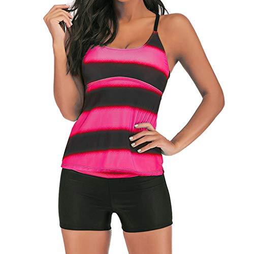 Muyise Frauen Sommer Bikini Beachwear Badeanzug Large Size High Waist Sling Konservative Gradient Split Bademode (Pink,S)