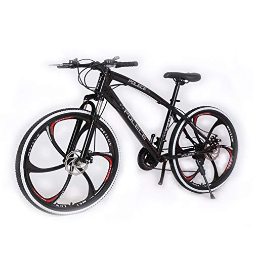 KT Mall 26-in Mountain Bike for Unisex 21-Speed Highway Bicycle with High Carbon Steel Frame with Disc Brakes Shock Absorption Dual Suspension Mountain Bikes Suitable for All Terrain,Black