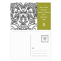 エジプトのフレスコ画の非対称図形の翼 詩のポストカードセットサンクスカード郵送側20個