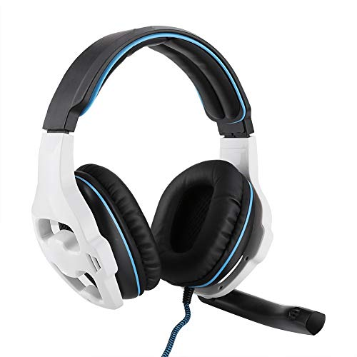 Op het hoofd gemonteerde gaming-hoofdtelefoon, Surround Sound USB Competitieve E-sports bekabelde headset, met microfoon flexibel, gedempte hoofdband, elimineert ruis, spelcomfort(Wit)