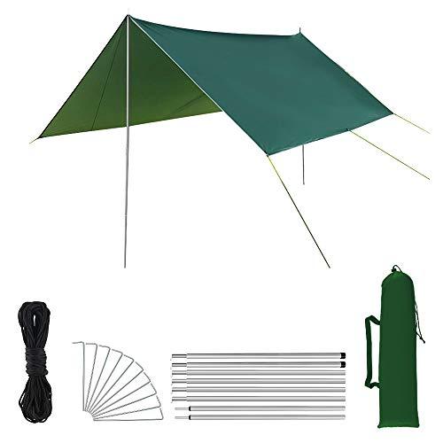 Manfore Zeltplane, Wasserdicht Zelt Tent Tarp für Hängematte, mit 8 Erdnägel, 8 Seilen, 1 Stützstange, Anti-UV Regenschutz Sonnensegel, Ultraleicht Tragbare für Ourdoor Camping Wandern 3m x 3m (Grün)