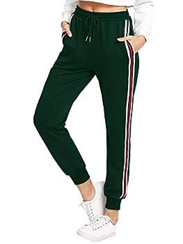SweatyRocks Women s Drawstring Waist Athletic Sweatpants Jogger Pants with Pocket Striped Side Green Large