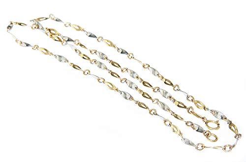 Hobra-Gold Goldkette 585 bicolor massiv Halskette Plättchenkette Damen Collier 45/50 cm (50)