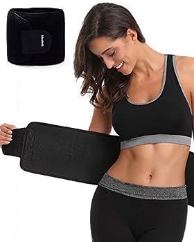 Abahub Waist Trimmer Trainer Belt,Ab Belt For Women And Men Belly Sweat Band Slimmer Belt For Waist Exercise Waist Belt Flat Belly Belt Sweat Belt For Stomach Neoprene Sweat Belt Black