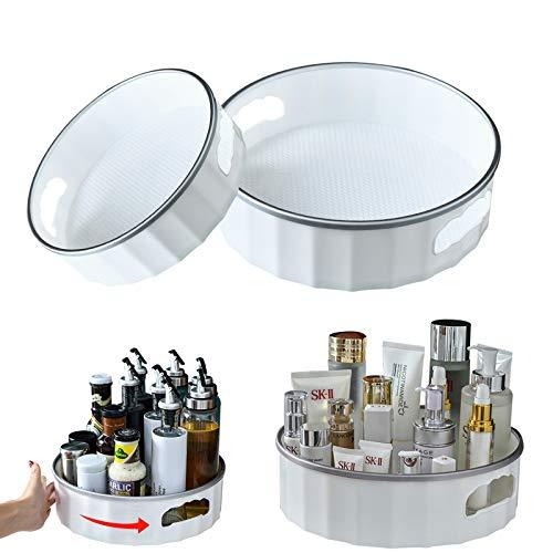 HOTOOLME 2 estantes giratorios para especias, soporte giratorio para especias, organizador de plástico ABS para latas de almacenamiento y especias