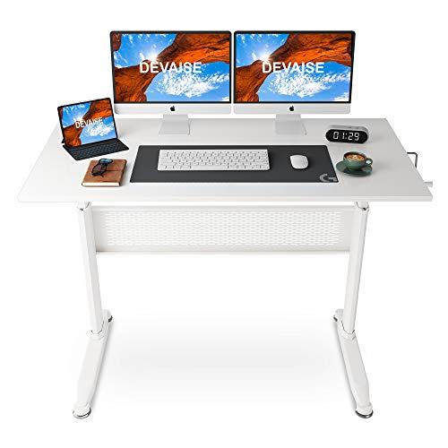 DEVAISE Höhenverstellbare Schreibtische/Computertische/Stehpult mit Seite Kurbel; 140cm Breit, Weiß