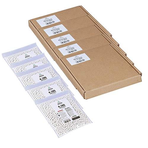 ARSUK Balines de Airsoft, Munición Bolas de paintball 6mm, 0.20g de Alto Grado Precision de plástico Cantidades; 2000, 4000, 5000, 10,000 Balines(0,20g 10000 Pellets - Blanco)
