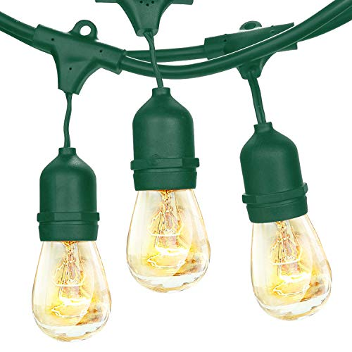 Brightech - Ambience Pro with Weathertite Technology - Outdoor Weatherproof Commercial String Lights with Hanging Sockets - Includes 11S14 Incandescent Bulbs - Green Color