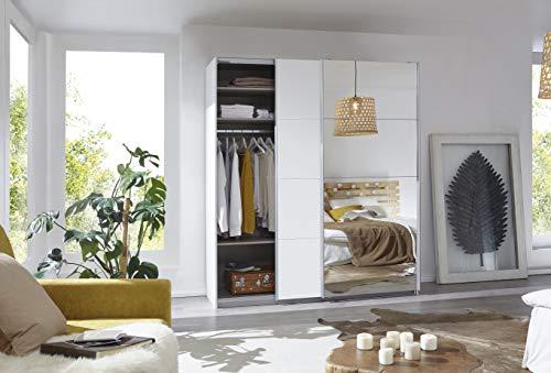 Rauch Möbel Caracas Schrank Kleiderschrank Schwebetürenschrank Weiß mit Spiegel 2-türig inkl. Zubehörpaket Basic 2 Einlegeböden, 2 Kleiderstangen, BxHxT 181x210x62 cm