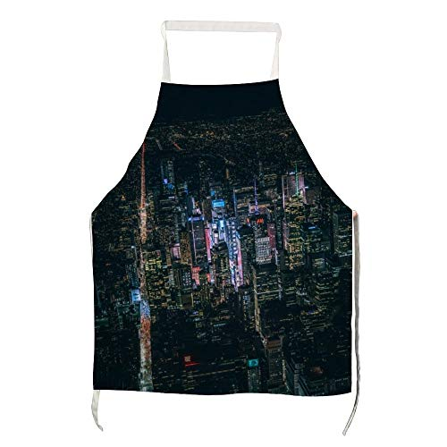 YYone Funny Kitchen Apron with Large Pockets Aerial View of City Building Commercial Men & Women Apron for Cooking,Baking,Crafting,Gardening,BBQ