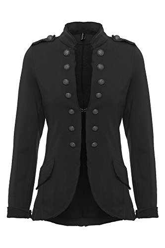 YSU Veste/blazer pour femme avec boutons S-XXXL Streetwear Costume de carnaval idéal - Noir - S