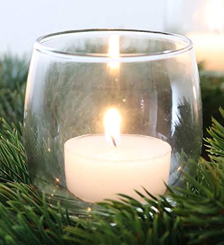 Novaliv 4X Teelichthalter zum Stecken weiß/klar Teelichtgläser Kerzenhalter Kerzenpicks für Adventskranz Glas Weihnachten 6cm