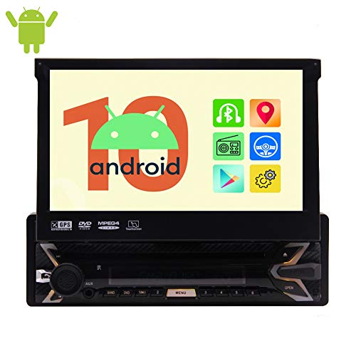 EINCAR Single DIN Android 10.0 OS Lettore Dvd Bluetooth Car Stereo GPS Navigazione Quad Core 1 GB 32 GB Autoradio AM/FM Audio con Touch Screen Capacitivo da 7 Pollici Supporto Video 1080P WiFi