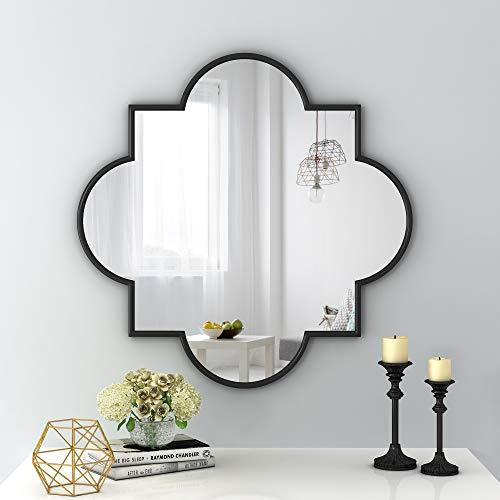 NXHOME Metal-Frame Accent Wall Mirror - Decorative Mirror Black Vanity Wall Mounted Mirror for Living Room Bathroom Entryway Bedroom 31.5×31.5 Inch
