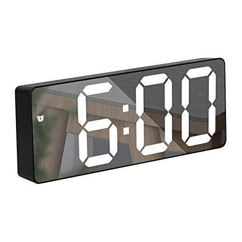 azorex Reloj Despertador Digital LED Reloj Espejo Modo Snooze 12/24 Horas Fecha Temperatura Brillo Ajustable con Modo Nocturno para Dormitorio Salón Decoración del Hogar (Negro)